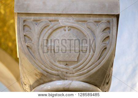 ZAGREB, CROATIA - JANUARY 31: Carved stone column ornament in the church of Saint Blaise in Zagreb, Croatia on January 31, 2015
