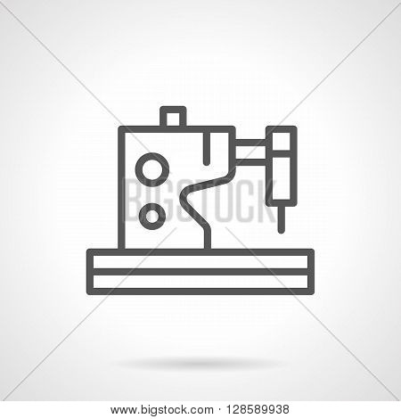 Electric or electromechanical sewing machine. Tailoring and dressmaking. Equipment for fashion industry. Simple black line vector icon. Single element for web design, mobile app.