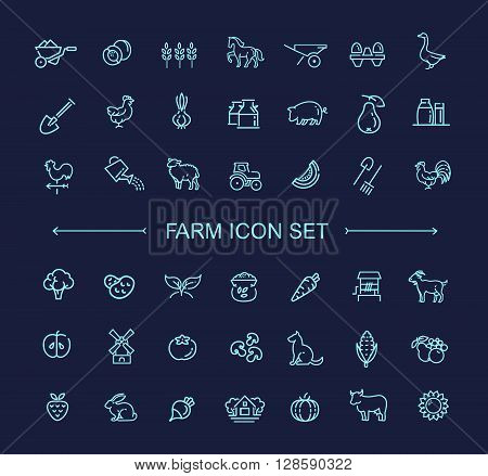 Farm vector line icon set. Farming, gardening