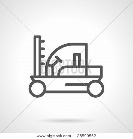 Farming machinery. Tractors and vehicles. Fork lift loader sign. Simple black line vector icon. Single element for web design, mobile app.