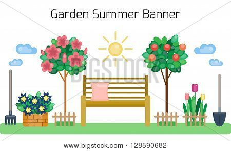 Garden summer banner. Bench in the garden. Growing plants. Sunny day. Caring about flowers and plants. Country life. Summer or spring design. Vector illustration. Spring banner by flat style