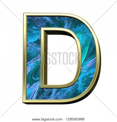 One letter from blue fractal with gold frame alphabet set isolated over white. 3D illustration.