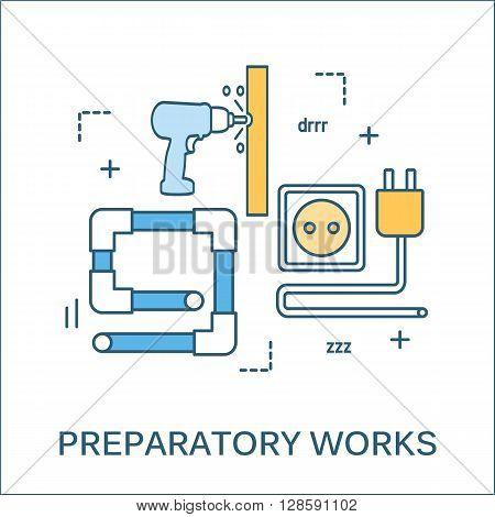 Thin line flat design of construction tools and house renovation banner. Modern vector illustration concept, isolated on white background. Flat line design for website element and Web Banner.