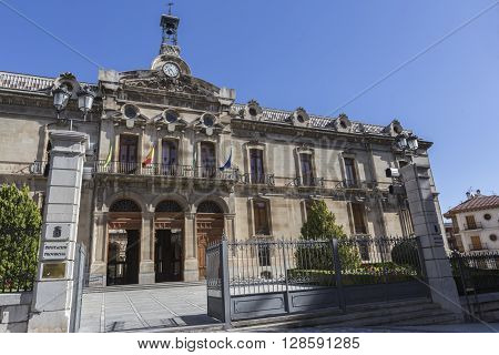 JAEN SPAIN - may 2016 2: Palace of the County council of Jaen the neoclassical facade is the work of Jorge Porrua and Moreno in the year 1867 located near the Cathedral of Jaen Spain