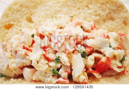 Close Up of an Imitation Crab Meat Sandwich