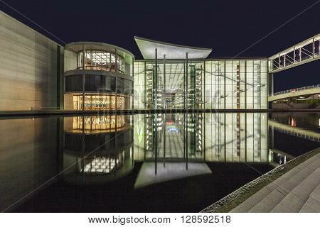Night View Of Marie-elisabeth-luders-haus And Paul Loebe House