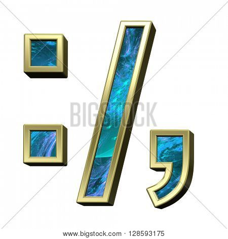 Colon, semicolon, period, comma from blue fractal with gold frame alphabet set isolated over white. 3D illustration.