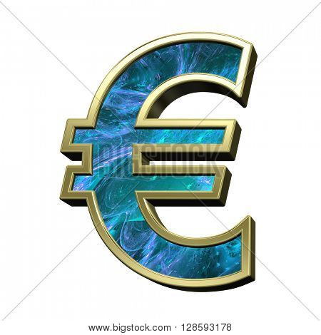 Euro sign from blue fractal with gold frame alphabet set isolated over white. 3D illustration.