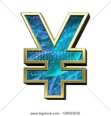 Yen sign from blue fractal with gold frame alphabet set isolated over white. 3D illustration.