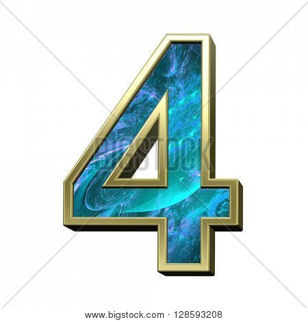 One digit from blue fractal with gold frame alphabet set isolated over white. 3D illustration.
