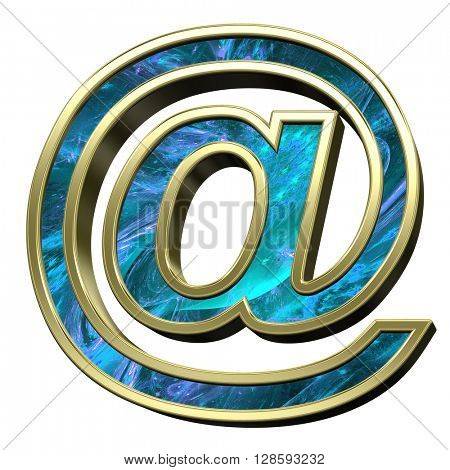 E-mail sign from blue fractal with gold frame alphabet set isolated over white. 3D illustration.