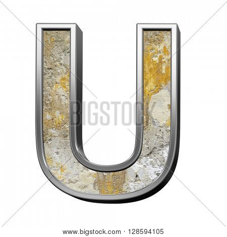 One letter from old concrete with silver frame alphabet set isolated over white. 3D illustration.