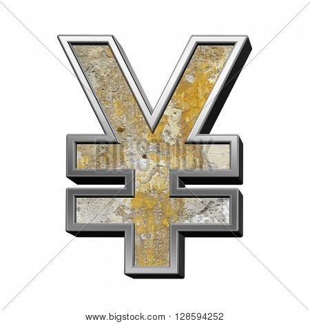 Yen sign from old concrete with silver frame alphabet set isolated over white. 3D illustration.