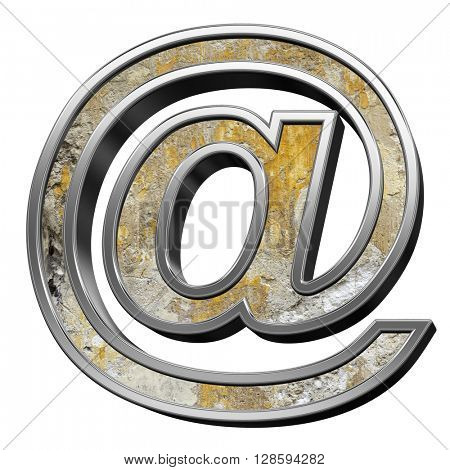 E-mail sign from old concrete with silver frame alphabet set isolated over white. 3D illustration.