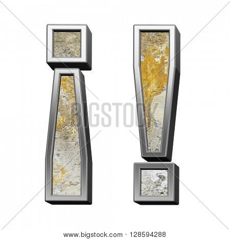 Exclamation mark from old concrete with silver frame alphabet set isolated over white. 3D illustration.