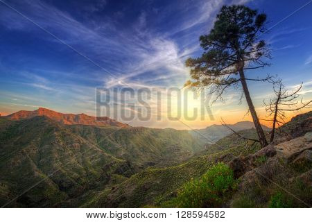 Sunset in the mountains of Gran Canaria island, Spain