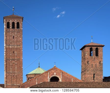 Facade of Saint Ambrose cathedral in Milan Italy