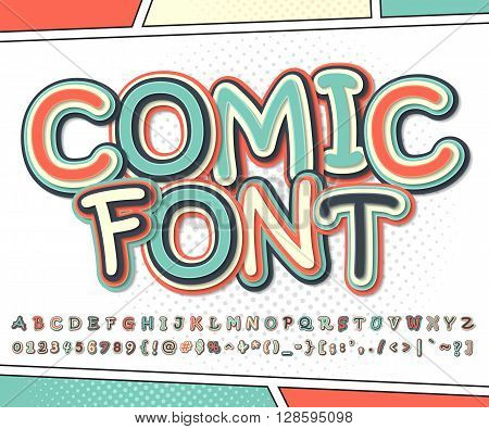 Cool multicolored high detail comic font and comic book page. Alphabet in style of comics, pop art. Multilayer funny letters and figures for illustrations, websites, posters, comics, banners