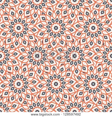 Rich, elegant colorful pattern with big abstract flowers. Floral background with arabic, indian, moroccan, eastern ethnic motif. Geometric print with stars, mandalas and stylized leaves drawn in lines