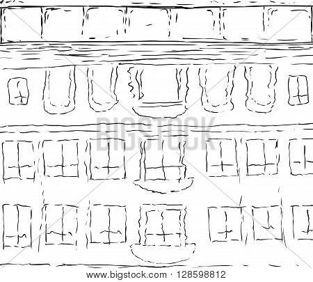 Reflection Of Drottningholm At Outline Sketch