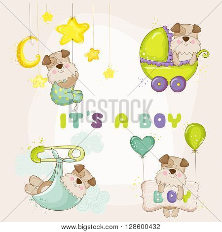 Baby Dog Set - for Baby Shower or Baby Arrival Cards - in vector