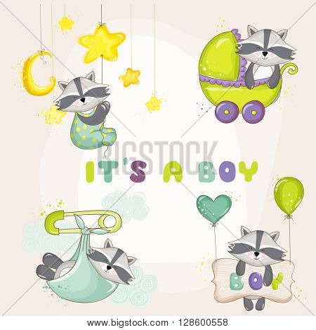 Baby Raccoon Set - for Baby Shower or Baby Arrival Cards - in vector