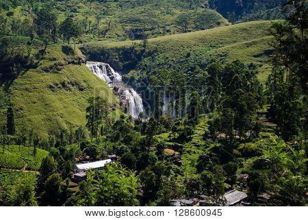 Water fall in Nuwara Eliya surrounded by tea plantations, Sri Lanka