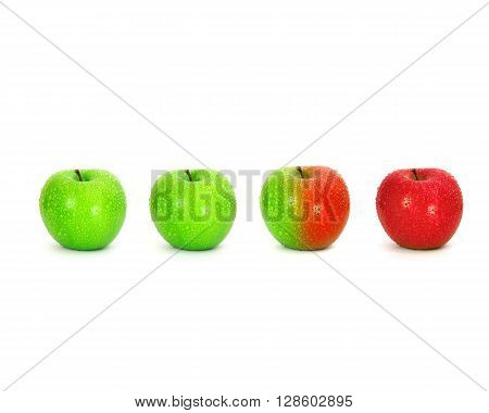 Half and half green red fresh apple with water droplet , trend of environment change or modified concept