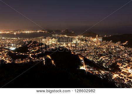 Night View of Rio de Janeiro City and Sugarloaf Mountain