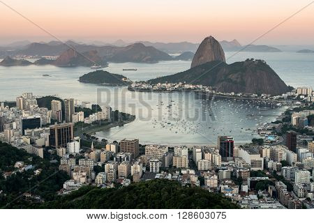 Sugarloaf Mountain and Rio de Janeiro City View in Evening Sun Light
