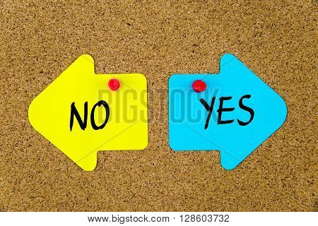 Blank Yellow And Blue Paper Notes In Shape Of Opposite Arrows