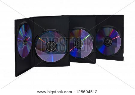 Close-up of three boxes of compact discs on a white background