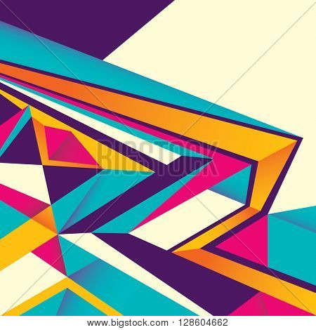 Designed abstract layout in color. Vector illustration.