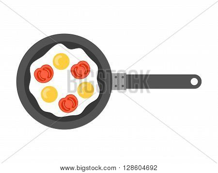 Scrambled eggs. Flat icon fried eggs with cheese on pan. Food for breakfast. Vector illustration