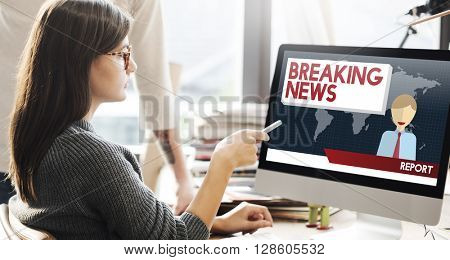 Breaking News Article Broadcast Headline Journal Concept