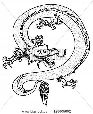 Black and white vector illustration of dragon .eps10 editable vector illustration design