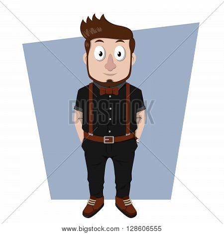 Business man hipster entrepreneur .eps10 editable vector illustration design