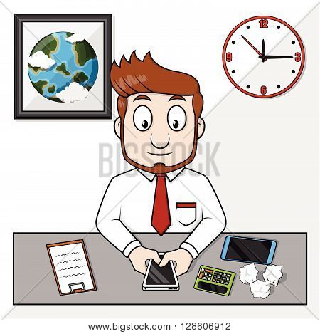 Business man check his handphone. eps10 editable vecor illustration design