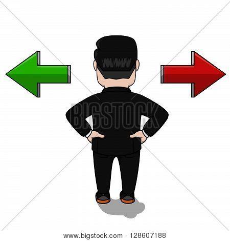 Business man two choose .eps10 editable vector illustration design