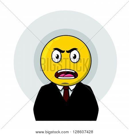 Angry businessman yellow circle head .eps10 editable vector illustration design