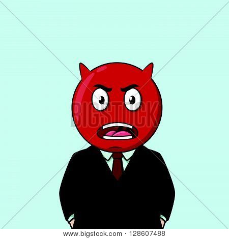 Business man angry red emoticon .eps10 editable vector illustration design