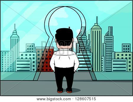 Business man walking into glass keyhole glass .eps10 editable vector illustration design