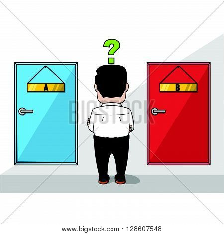 Business man confused choosing the door .eps10 editable vector illustration design