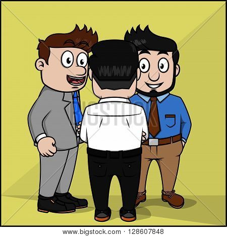 Interaction employee carton illustration .eps10 editable vector illustration design