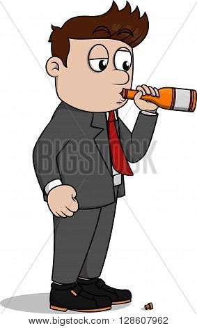 Drunk business man .eps10 editable vector illustration design