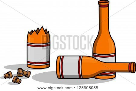 Liquor bottle crash .eps10 editable vector illustration design