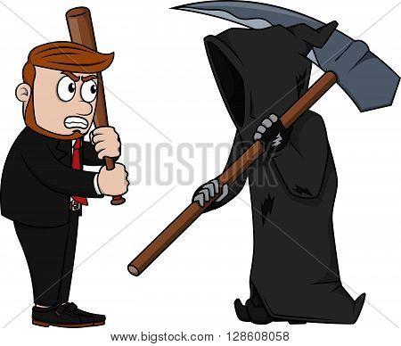 Business man vs Grimreaper .eps10 editable vector illustration design