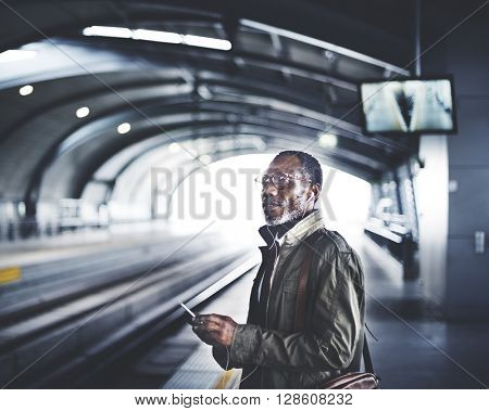 Businessman Waiting Train Station Lifestyle Concept