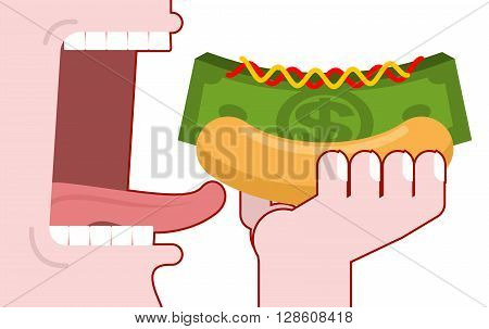 Man consumes money. Cash hot dog. Muffin and dollars pack. Fast food fo rich the oligarchs. Mustard and ketchup. Eats green currency