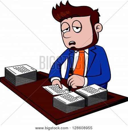 Business man feel sleepy .eps10 editable vector illustration design